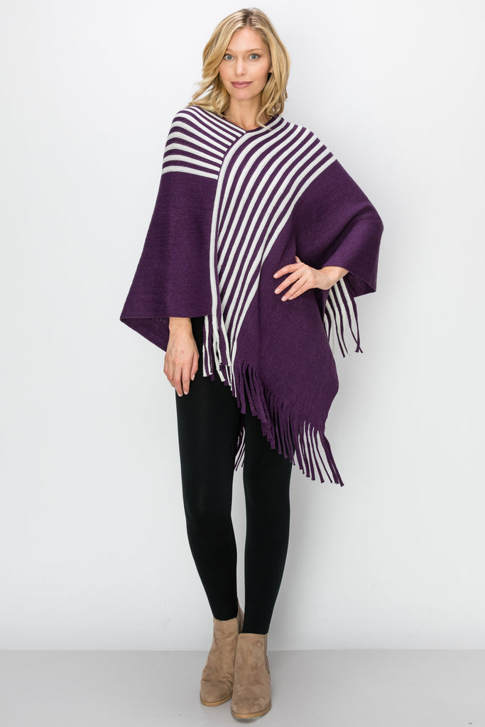 SCA-2229-PURP| Purple & Winter White Stripe Fringe-Trim Poncho