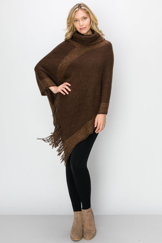 SCA-2232-BRN | Brown Metallic Cowl Neck Fringe-Trim Poncho