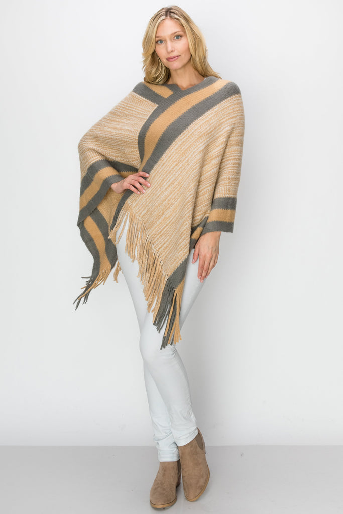 SCA-2228-CAMEL | Camel & White Stripe Color Block Fringe-Trim Poncho