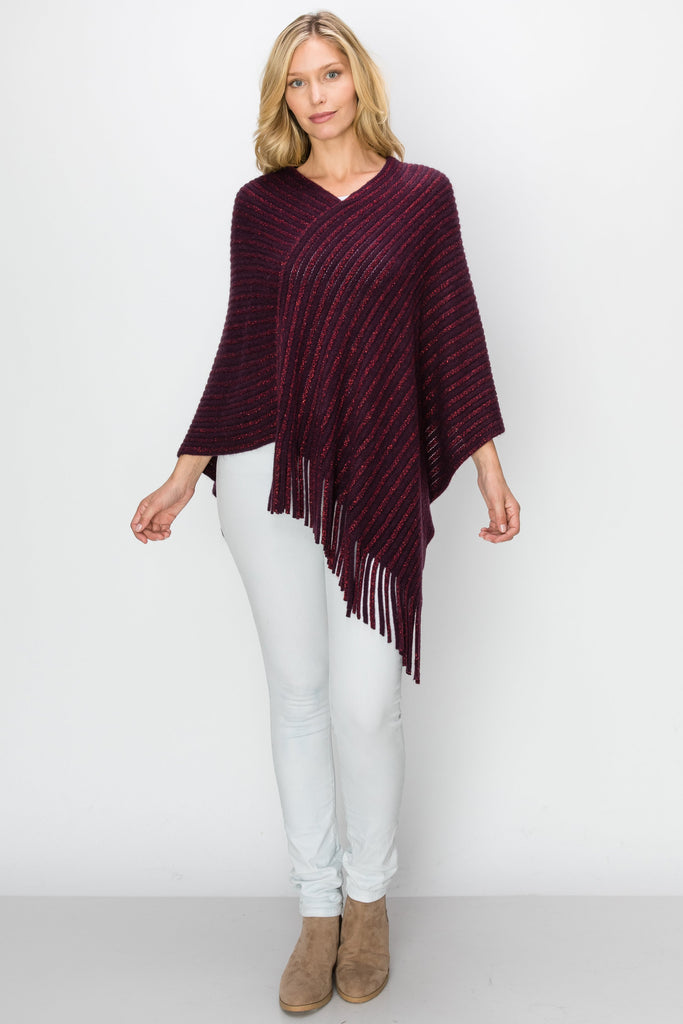 SCA-2225-DKPURP | Dark Purple Metallic Fringe-Trim Poncho