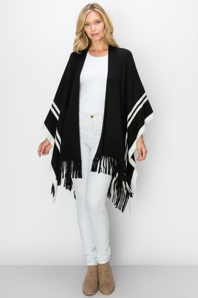 SCA-2241-BLK | Color Block Fringe-Trim Ruana