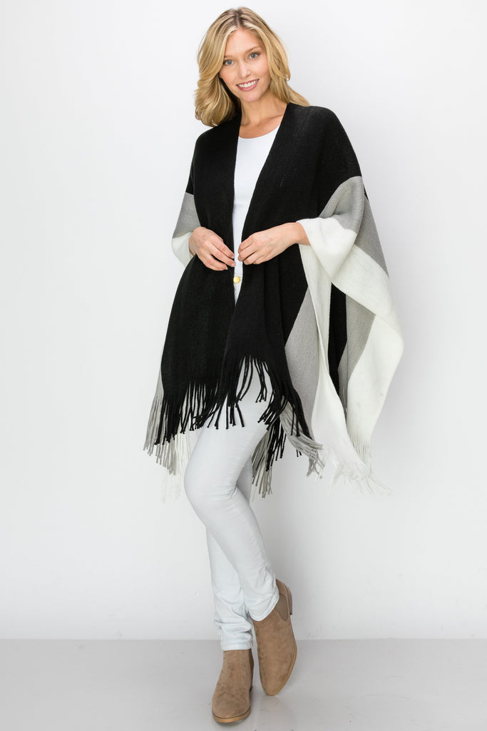 SCA-2240-BLK | Color Block Fringe-Trim Ruana