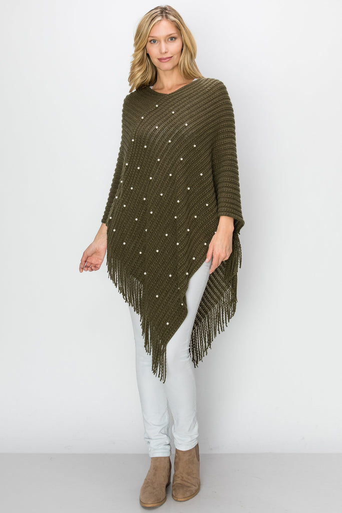 SCA-2226-OLV | Olive Bead-Accent Fringe-Trim Poncho
