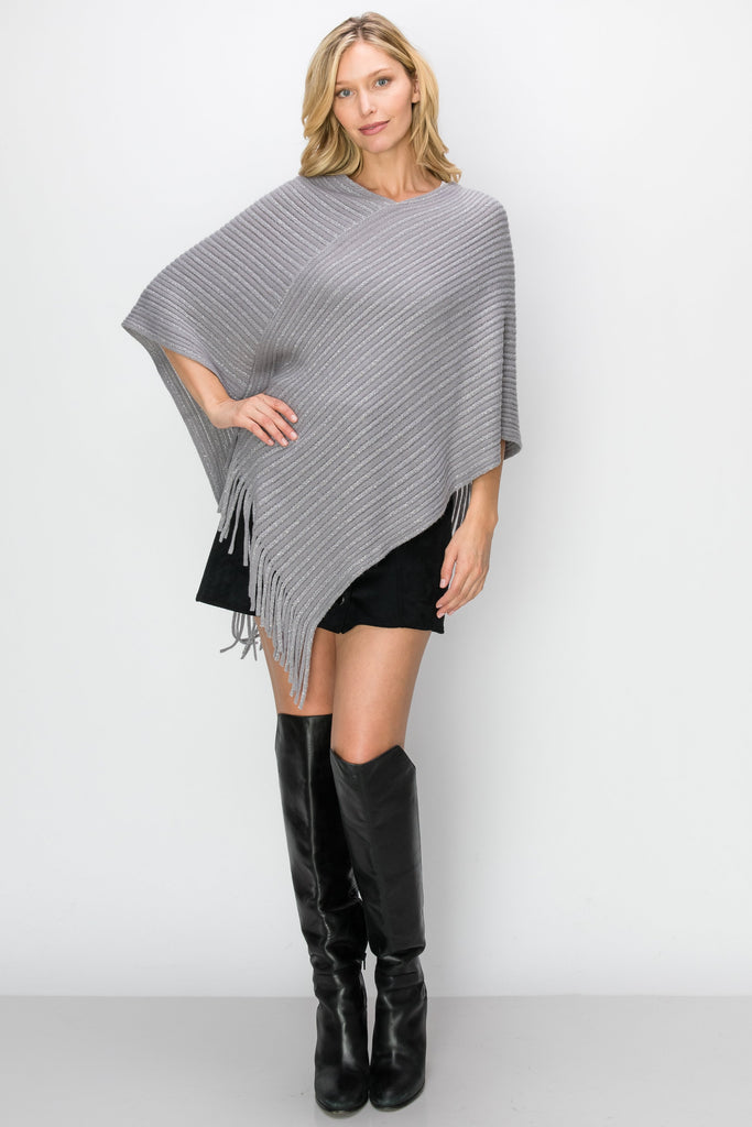 SCA-2225-GRY | Grey Metallic Fringe-Trim Poncho