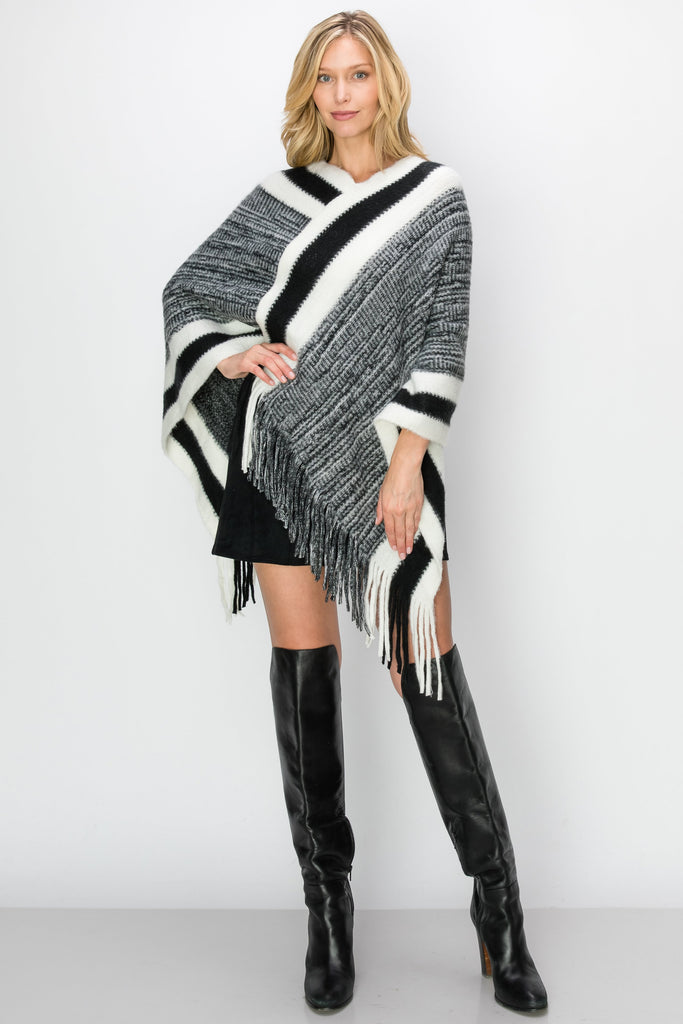 SCA-2228-BLK | Black & White Stripe Color Block Fringe-Trim Poncho