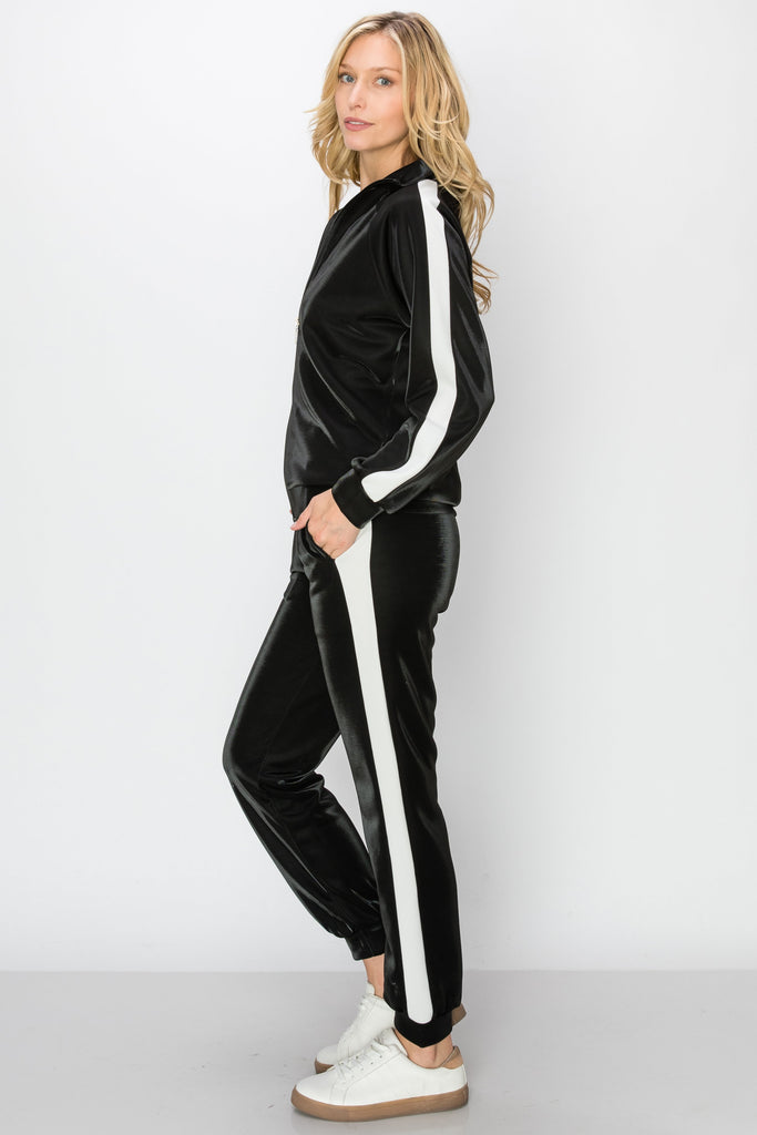 YPS-3141-BLK |Black & White Side-Stripe Metallic Active Jacket & Joggers