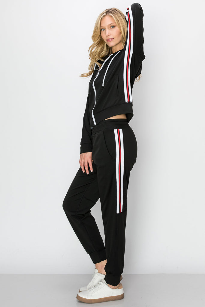 YPS-3142-BLK |Black Contrast-Trim Active Zip-Up Hoodie & Joggers