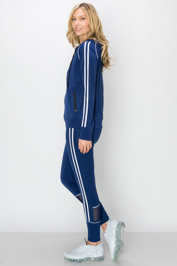 YPS-3143-NAVY |Blue & White Double-Stripe Active Zip-Up Hoodie & Leggings