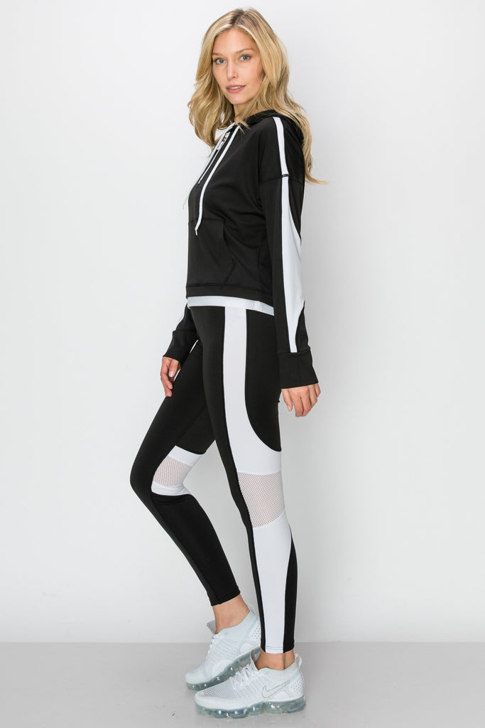 YPS-3137-BLK | Black & White Half-Zip Crop Hoodie & Leggings