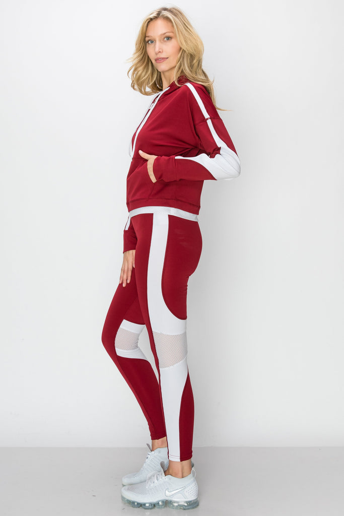 YPS-3137-BUR | Burgundy & White Half-Zip Crop Hoodie & Leggings