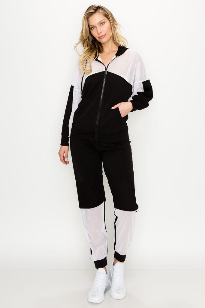 YPS-3019-WHITE | Active 2 Piece Mesh Hoodie and Jogger Set