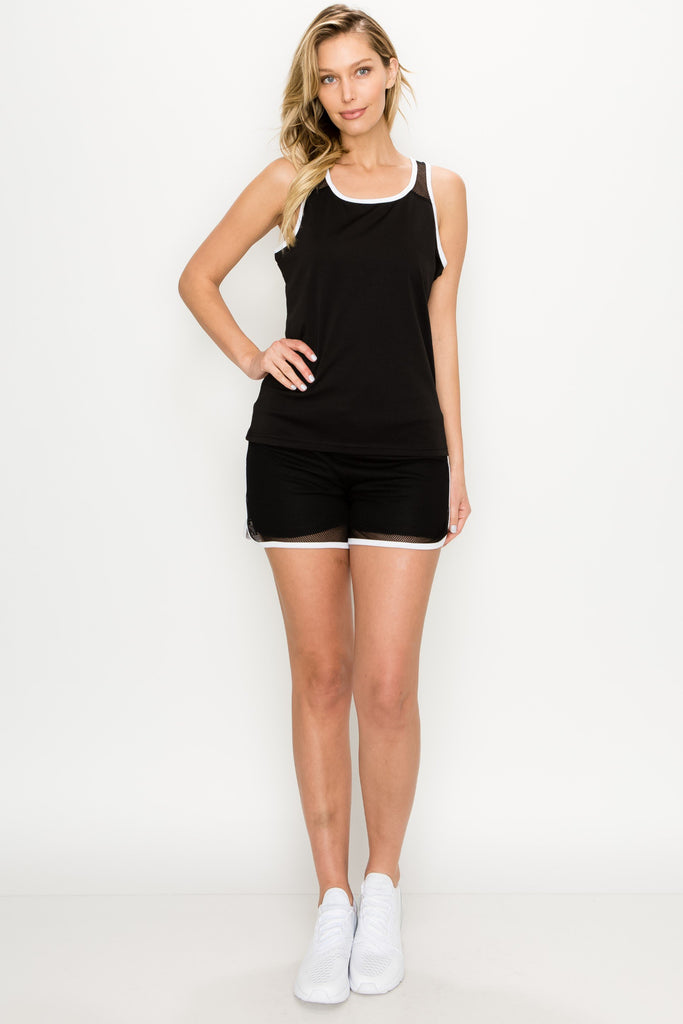 YPS-3030-BLK | Active 2 Piece Mesh Tank and Shorts Set