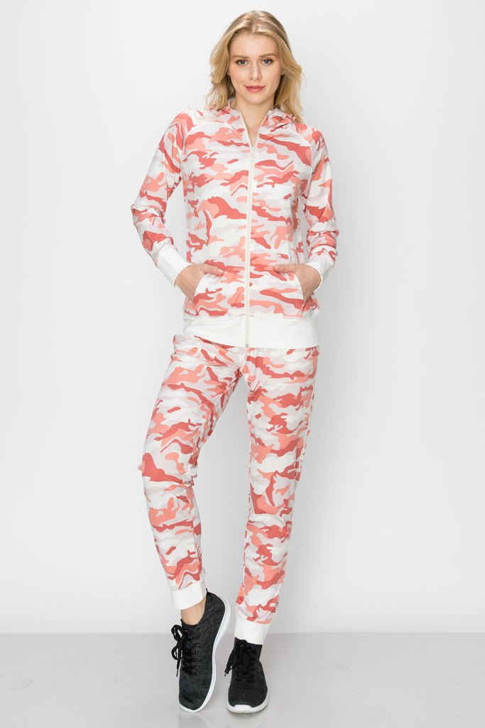 YPS-3004-PINK | 2-PC Camo Hoodie and Jogger Set
