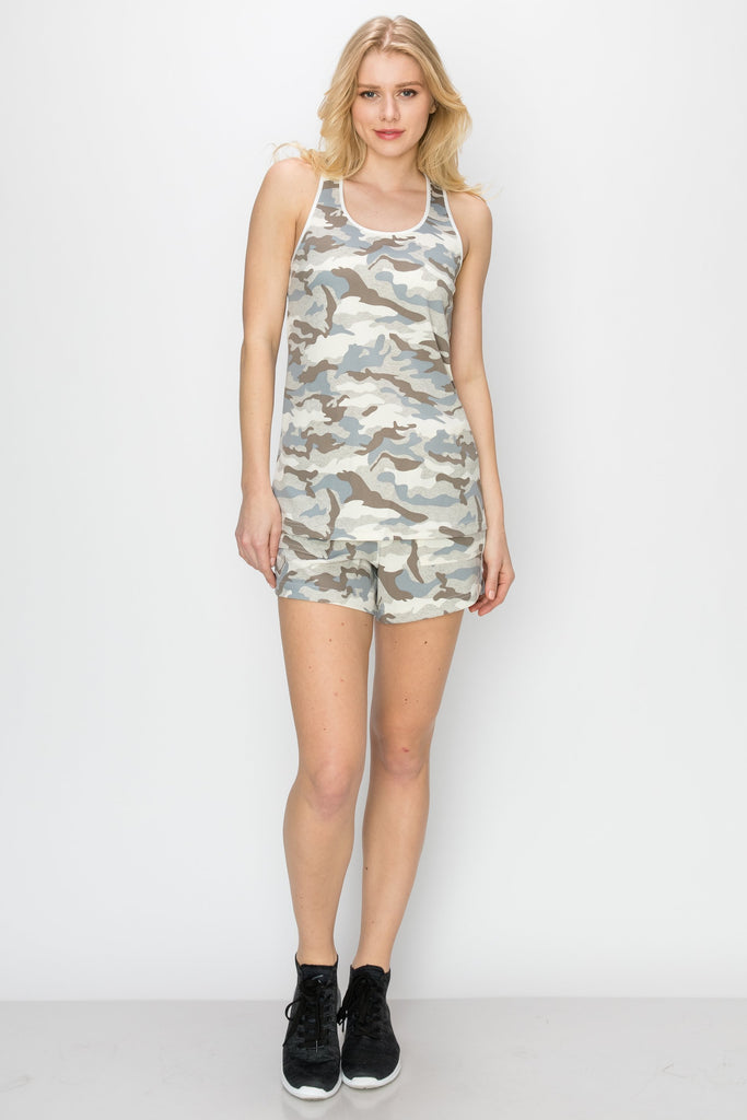 YPS-3008-GREY | 2-PC Camo Tank and Shorts Set