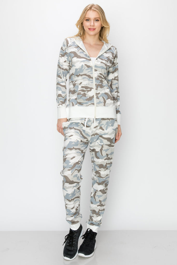 YPS-3004-GREY | 2-PC Camo Hoodie and Jogger Set