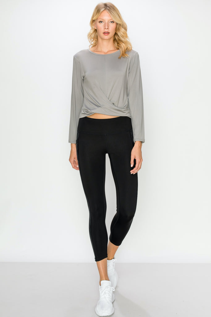 TP3407-Grey | Cropped Long Sleeve Front Twist Top