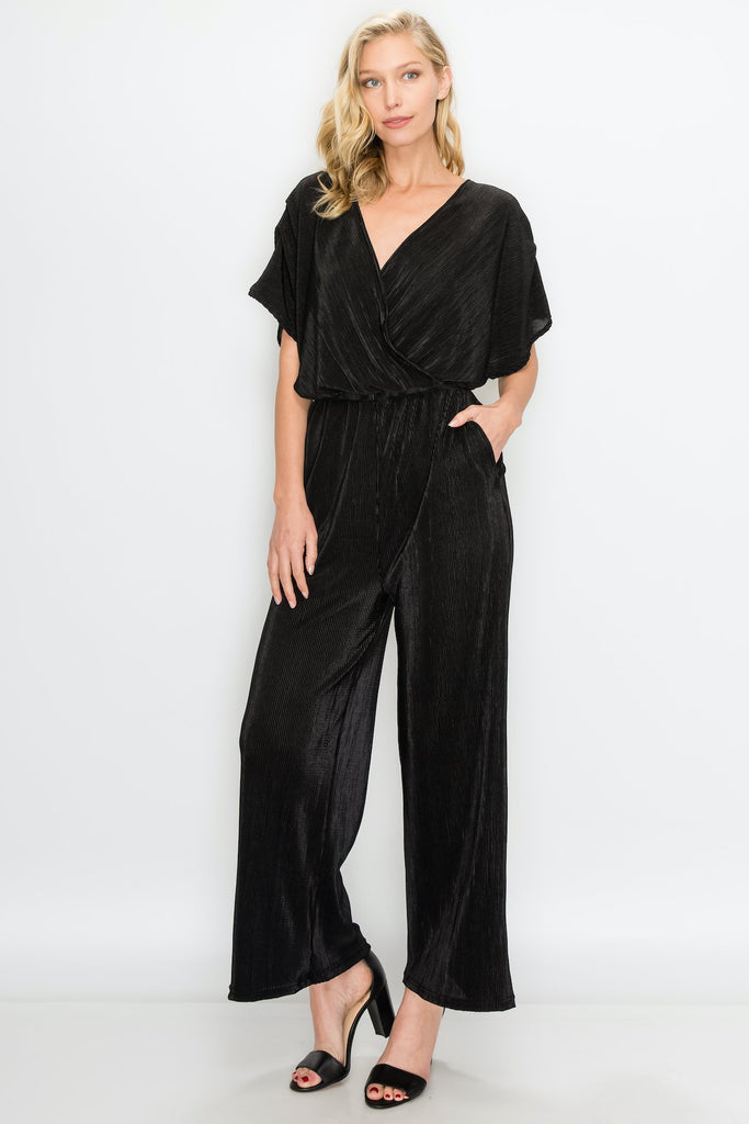 JP-1109-BLK | Surplice Neckline with Relaxed Silhouette Pleated Jumpsuit