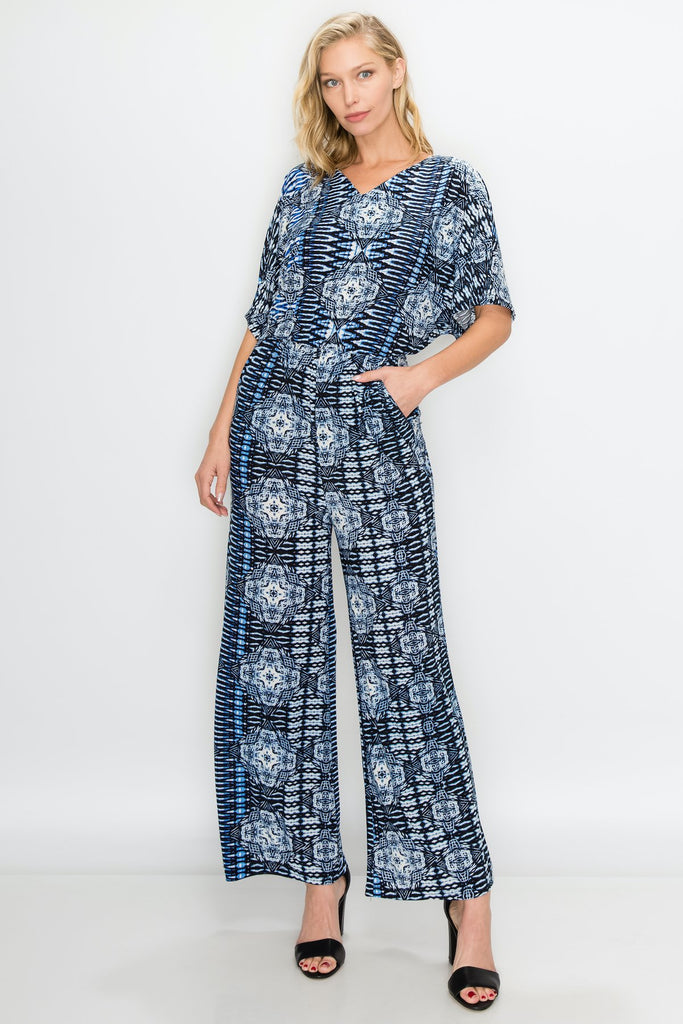 JP-1128 | Slit-Sleeve V-Neck Jumpsuit