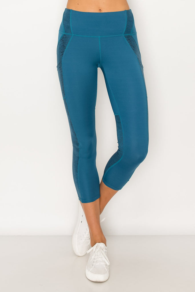 YP3311-Blue | Solid Crocodile Inlay Legging