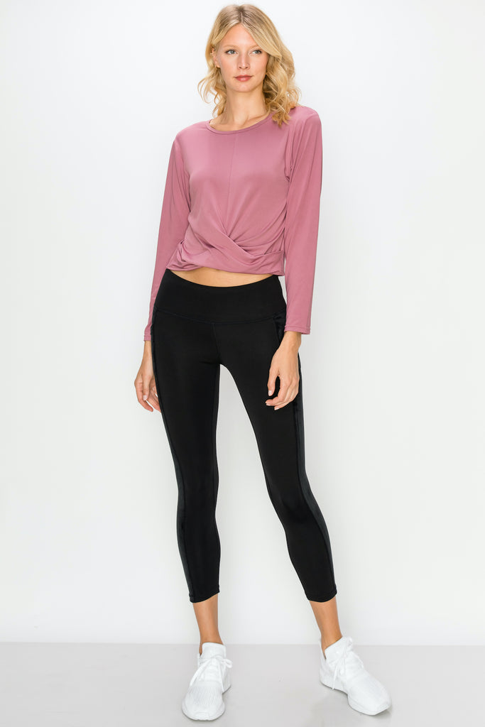 TP3407-Mauve | Cropped Long Sleeve Front Twist Top
