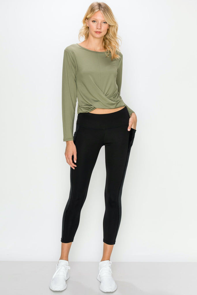 TP3407-Olv | Cropped Long Sleeve Front Twist Top