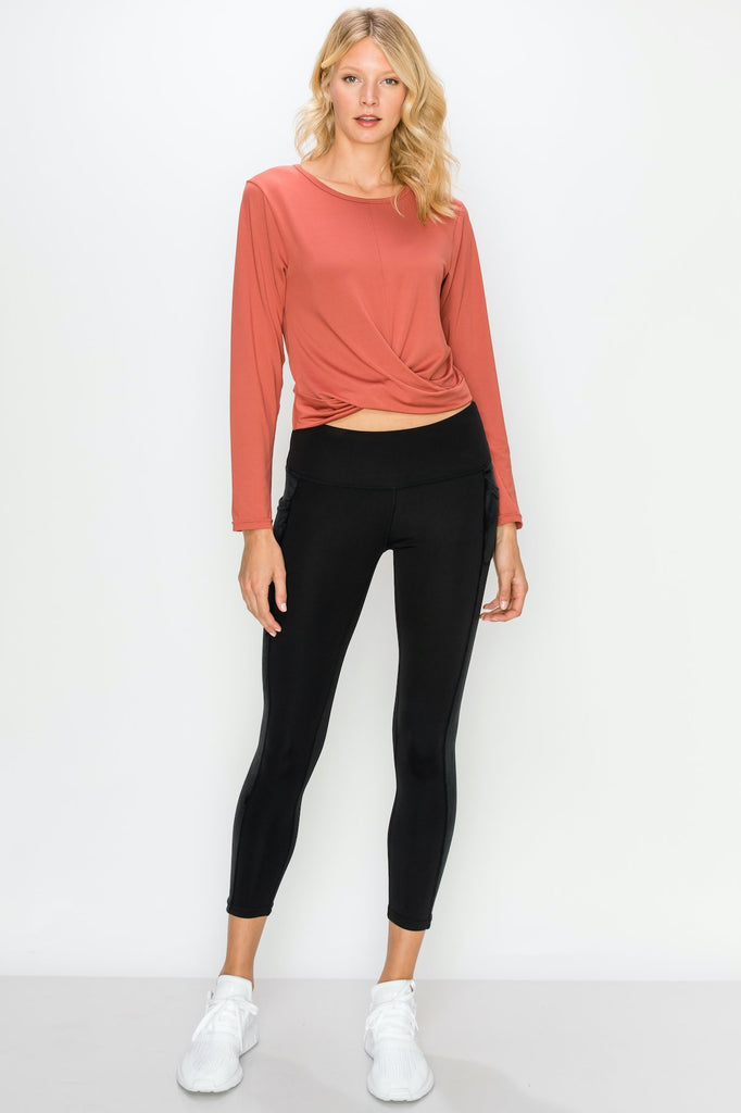 TP3407-Redwood | Cropped Long Sleeve Front Twist Top