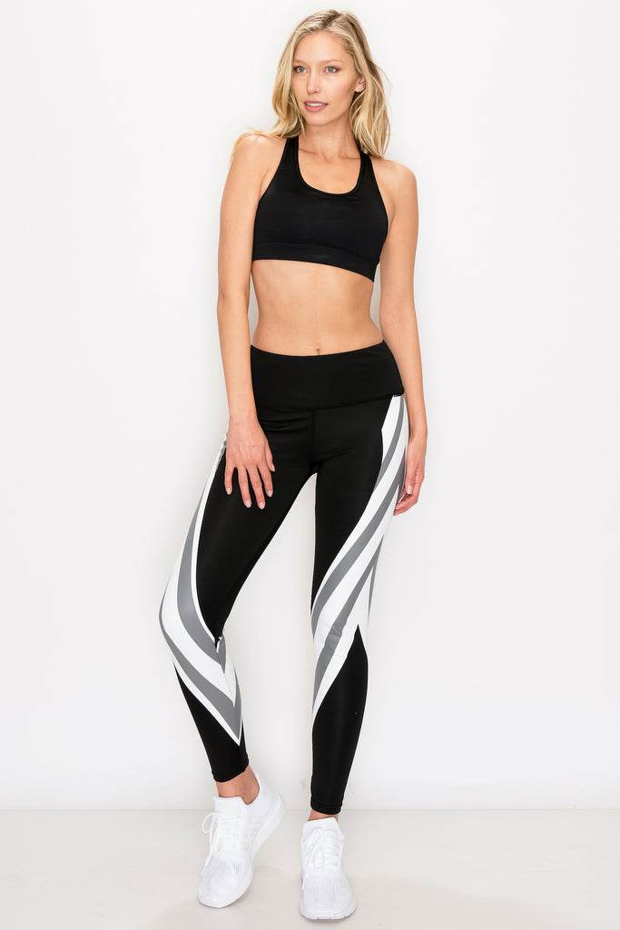YP-3172-BLK/WHT | Striped Printed Full Length Legging