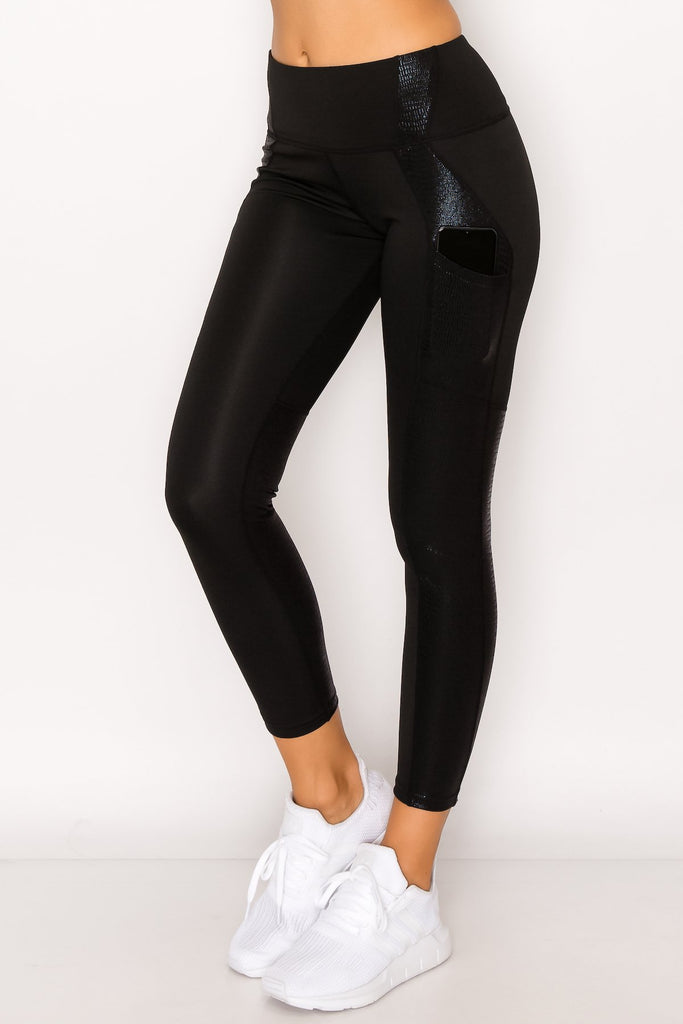 YP3311-Blk | Solid Crocodile Inlay Legging