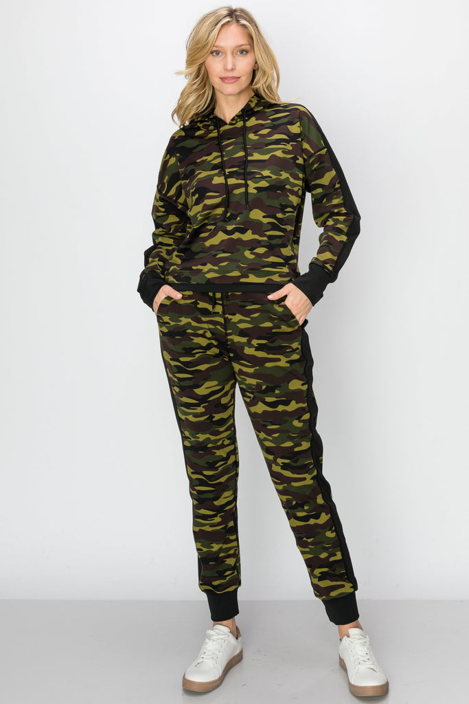 YPS-3145-OLV | Army Olive Camo Active Crop Hoodie & Joggers