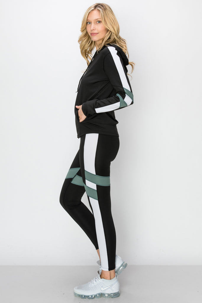 YPS-3134-GRN | Black & Green Side-Stripe Active Hoodie & Leggings