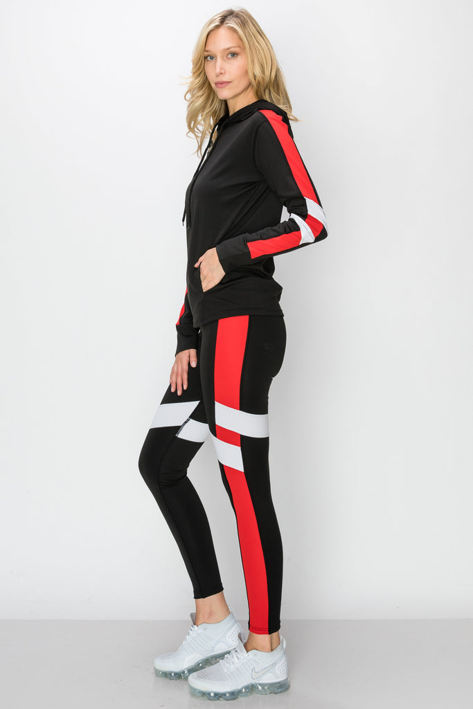 YPS-3134-RED | Black & Red Side-Stripe Active Hoodie & Leggings
