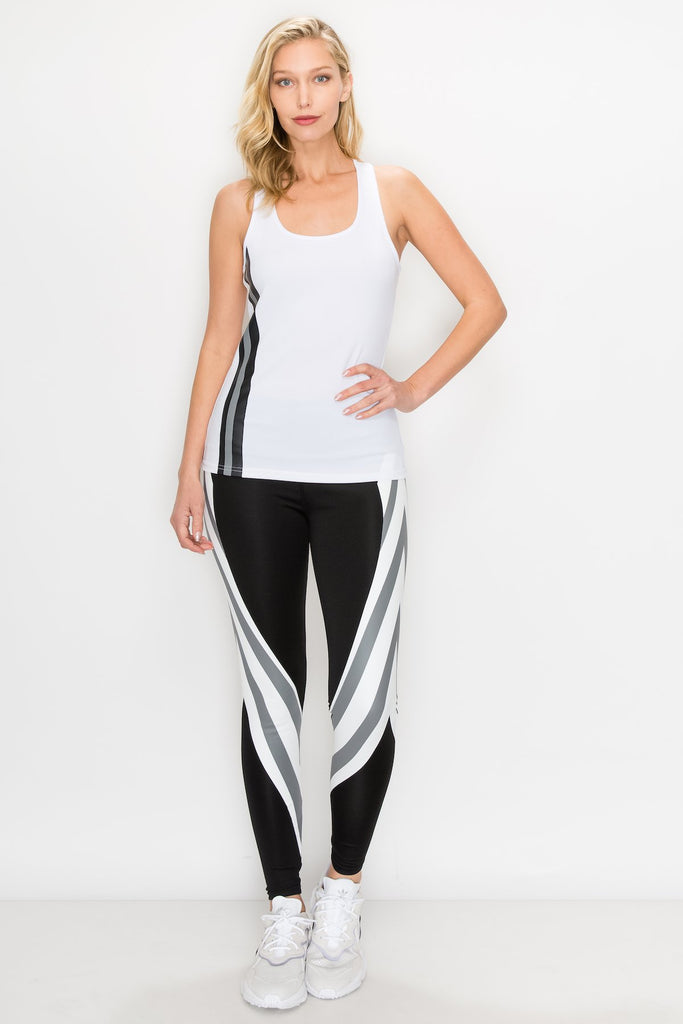 YPS-3172-BLK | Tank Top and Full Length Legging Set