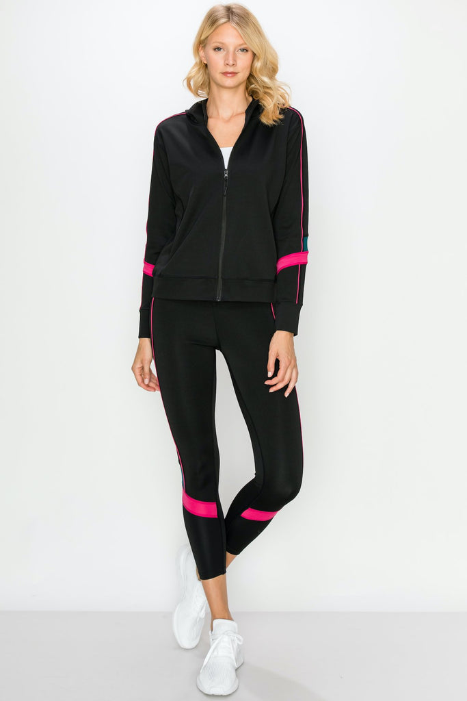 YPS3302-BLK | Color Block Active Full Zip Hoodie and Legging Set