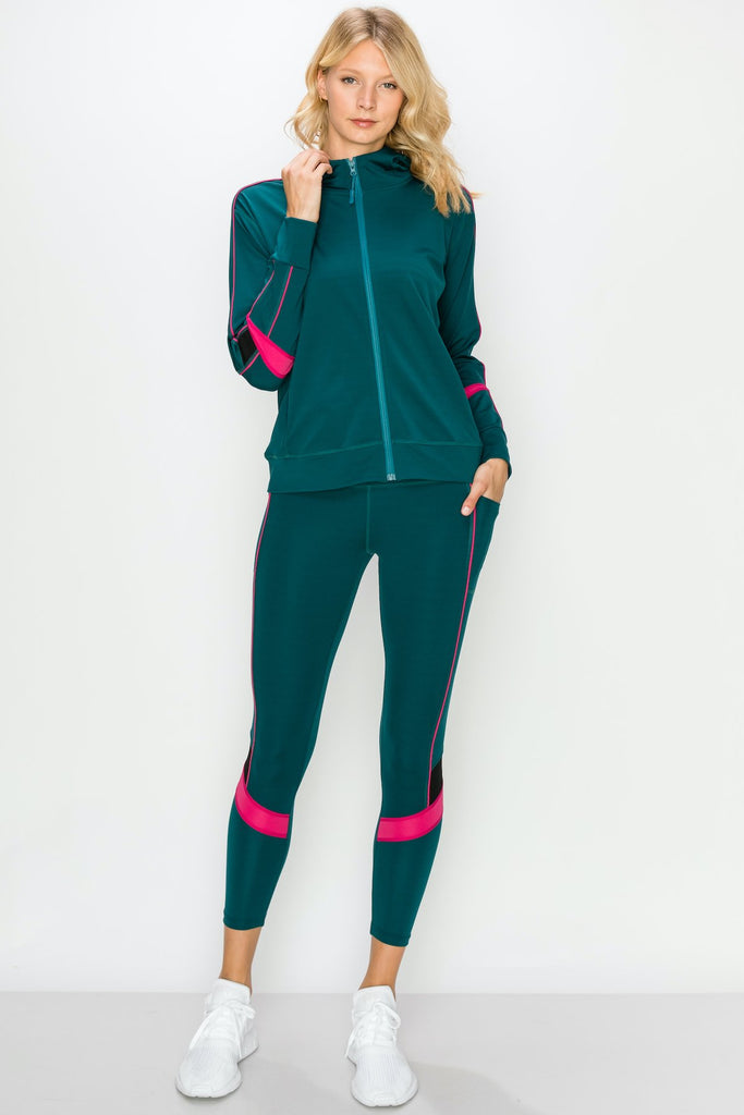 YPS3302-TEAL | Color Block Active Full Zip Hoodie and Legging Set