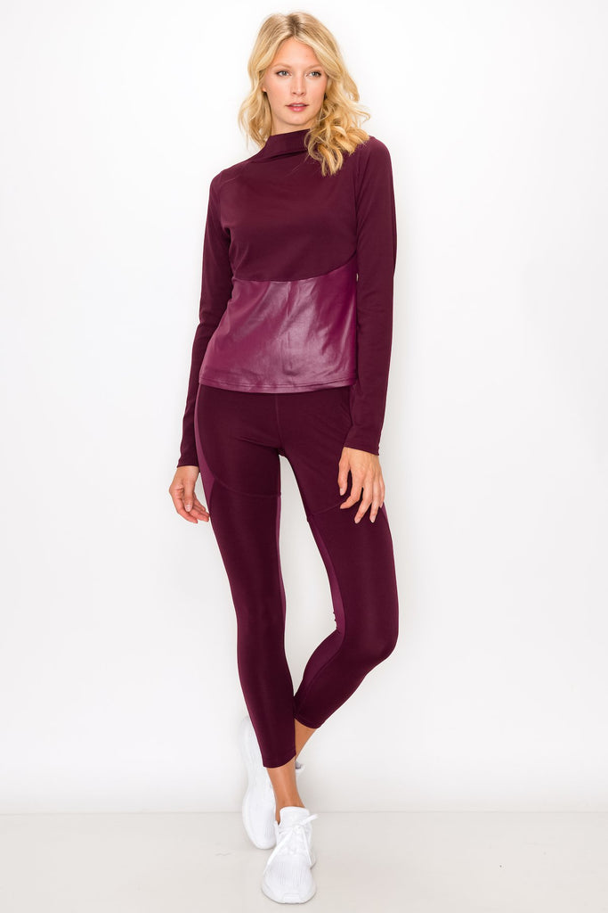 YPS3305-WINE | Solid Glossy Accent Half Zip Mock Neck Pullover and Legging Se