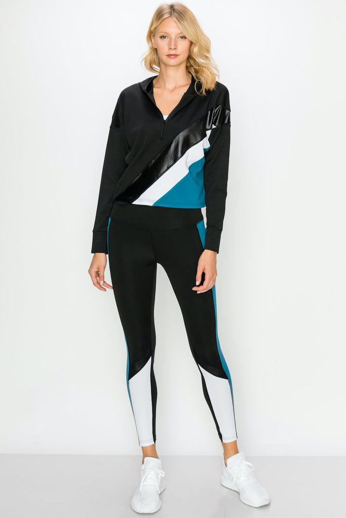 YPS3310-INDIGO | Color Block Active Full Zip Hoodie and Legging Set