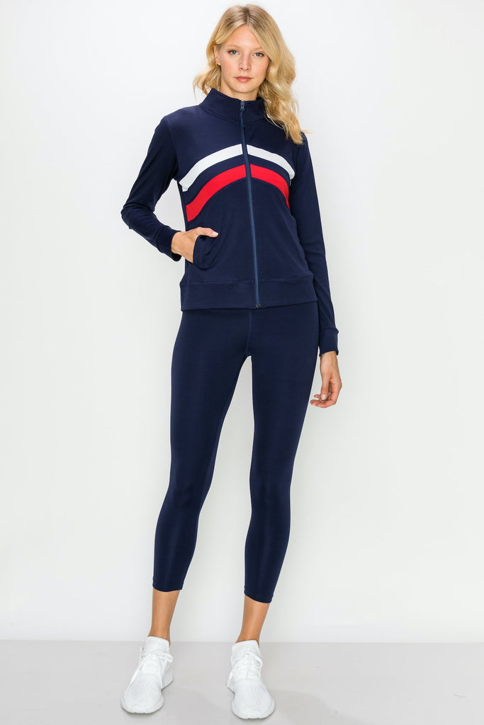 YPS3409-NAVY | Chevron Striped Active Zip-Up Jacket and Legging Set