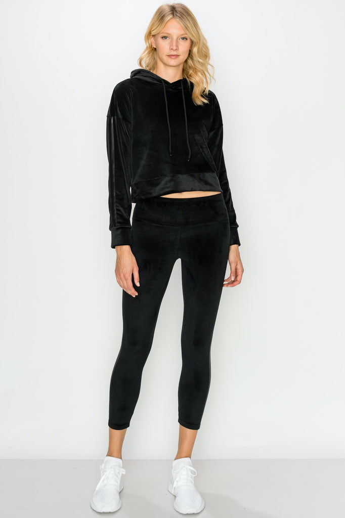 YPS3411-BLK | Cropped Velour Pullover Hoodie and Legging Set