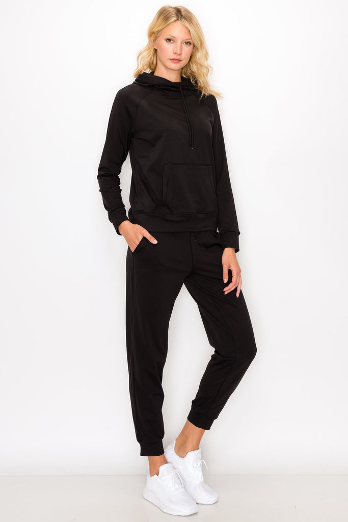YPS3412-BLK | Fleece-Lined Pullover Hoodie and Jogger Set
