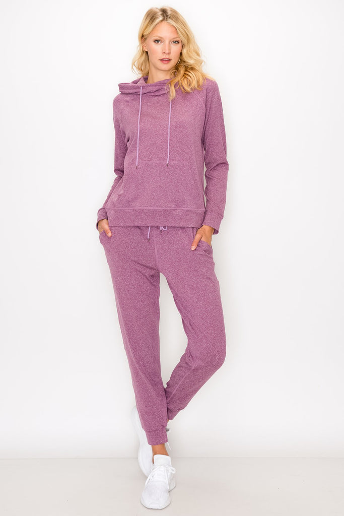 YPS3412-Mve | Fleece-Lined Pullover Hoodie and Jogger Set
