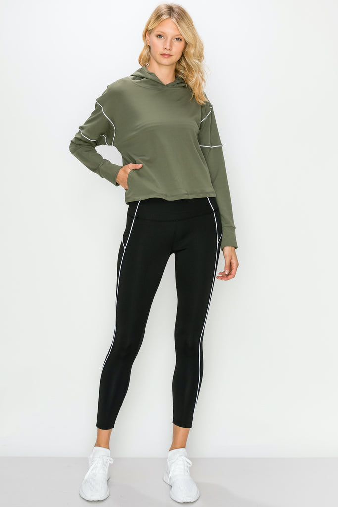 YPS3414-OLV | Active Piping Accented Pullover Hoodie and Legging Set