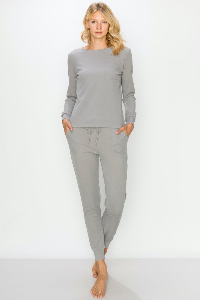 YPS3454-Grey | Ribbed Lounge Set