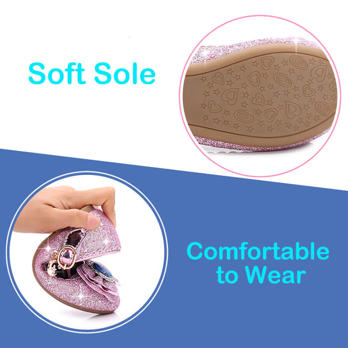 Soft Leather Anti-Slip Sole for Kids Girls Age 3-14