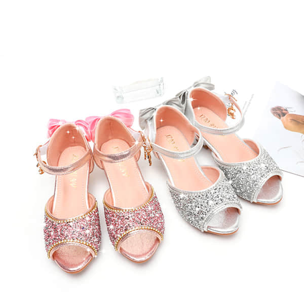 Girls Solid Shining Crystal Sandals Glitter Low Heel Shoes