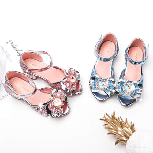 2 Colors Available of this Girls Princess Glitter Crystal Sandals