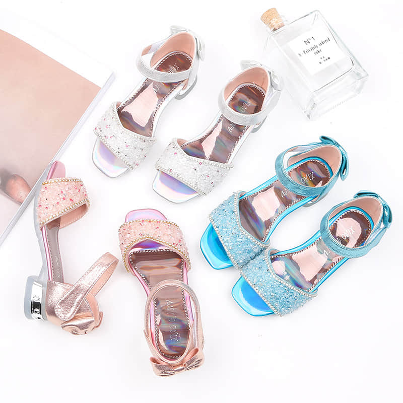 3 Colors Available of this Girls Princess Glitter Crystal Sandals