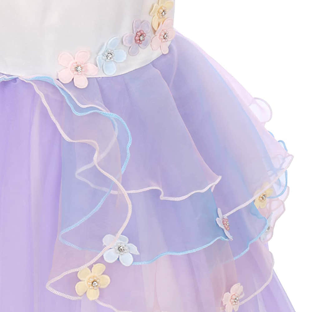 Multi-Layer Tulle Tutu Skirt with Embroidered 3D Flowers