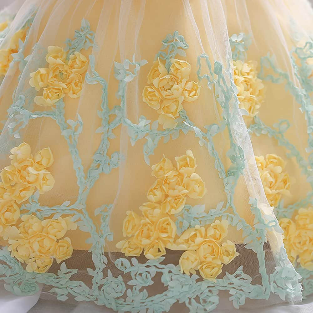 3D flowers embroidered on the Skirt