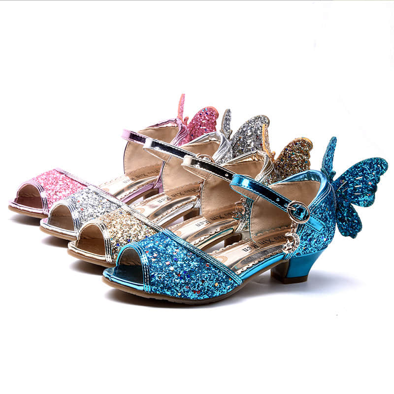 4 Colors Available of this Girls Princess Glitter Crystal Sandals