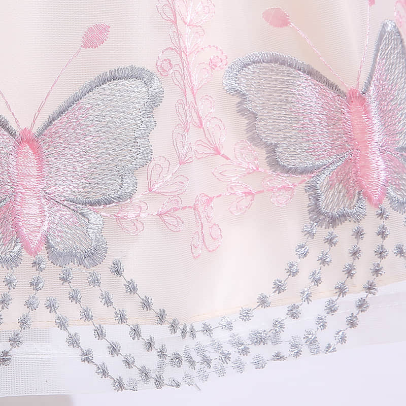 Embroidered Butterfly and Flowers on the Bodice